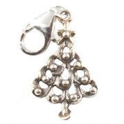 Christmas Tree Sterling Silver Clip On Charm - With Clasp